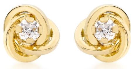 Carissima Gold Damen-Ohrstecker 18ct 7mm Knot Stud Earrings 750 Gelbgold Zirkonia transparent Rundschliff