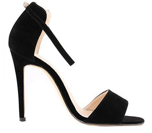 Dayiss Damen Simple Ankle-strap Buckled Sommer Stiletto Sandals Party Peep Toes schwarz