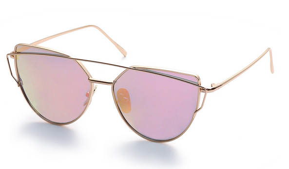 Gold Metal Frame Double Bridge Pink Lens Sunglasses