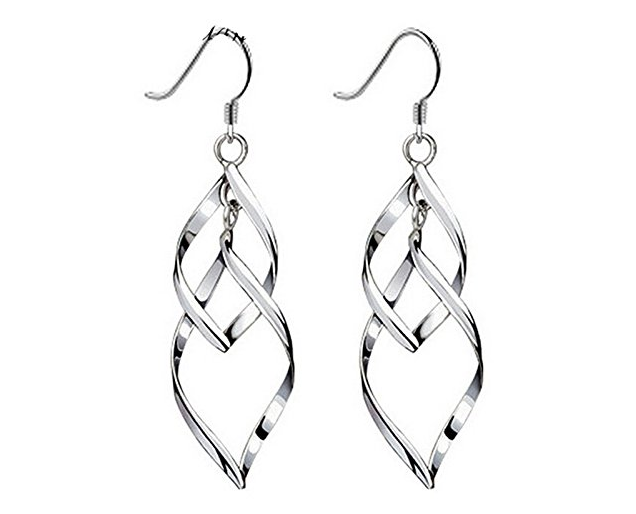 Doppel Leaves 925 Sterling Silber Ohrringe