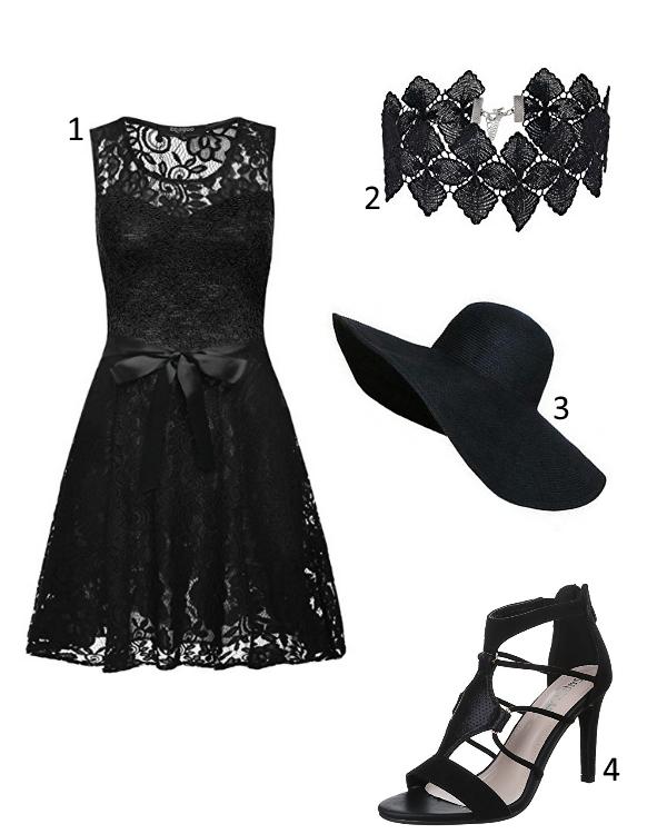 Sommer Cocktail Kleid Outfit schwarz