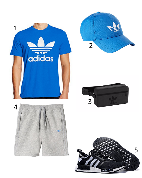 adidas sommer outfit f r herren mit cooler crossbody tasche und nmd 39 s. Black Bedroom Furniture Sets. Home Design Ideas