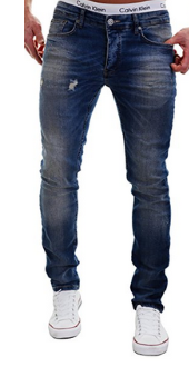 Merish Jeans Herren destroyed Used-Look Hard Bleached Dark Blue Neu Modell J2021