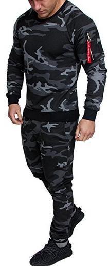 Amaci&Sons Herren Cargo Stil Sportanzug Jogginganzug Trainingsanzug Sporthose+Pullover 1004 Camo