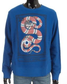 GUCCI Authentic New Blue Cotton Sweatshirt With Kingsnake Print