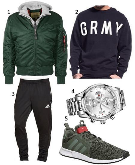 Grüne Bomberjacke Outfit