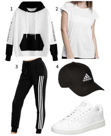 Damen Black&White Outfit