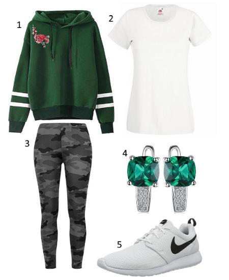 Damen Hoodie Grün Outfit