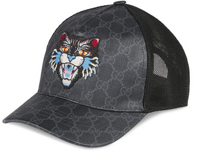 Gucci GG Supreme baseball hat with Angry Cat