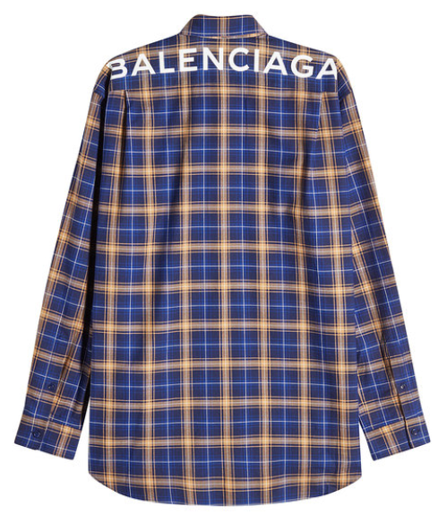 Balenciaga Kariertes Hemd aus Baumwolle mit Logo-Print